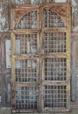Exceptional Iron Jali Doors with decorative carving & faded paint tones <b> SOLD <b>